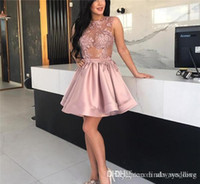 2019 Cheap Sexy Sheer Illusion A Line Abito da cocktail Dusty Pink Mini Short Holiday Club Wear Homecoming Party Dress Plus Size Custom Make
