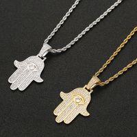 Iced Zircon Hamsa Hand Anhänger Kupfer Material Gold Silber Fatima Palm Halskette Hip Hop Schmuck für Männer Frauen