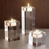 Mariage Décorations Idée K9 Centres de table en cristal Bougeoir Ensemble de 3 bougies chauffe-plat Candlestick Brins 6cm 8cm 10cm