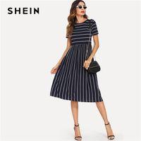 4f5aba1f97 Shein Navy Elegant Round Neck Short Sleeve Mixed Stripe Natural ...