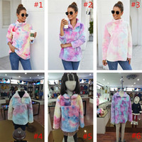 Mulheres Gradient pulôver Sherpa colorido camisola manga comprida Zip Plush velo tingido Brasão Outwear Hoodies do arco-íris Tops Casacos