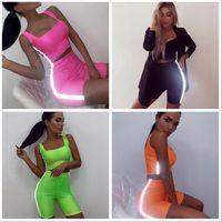 Frauen Reflektierende Streifen Outfits Sportanzug T-Shirt Set Trainingsanzug Tank Crop Top eng Kurze 2 stücke Slim Sexy Jogging Sportswear AAA2109
