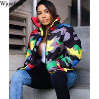 Wjustforu s-размер 4XL плюс размер камуфляж печати зимняя одежда пузырь пальто женский укороченный пуховик вниз куртка плюс размер куртка верхняя одежда
