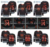 Team America do Norte Jerseys 97 Connor McDavid 34 Auston Matthews 15 JACK EICHEL 13 JOHNNY gaudreau 44 Copa do Mundo Rielly HAB Hockey Jersey