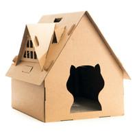 Maison en carton Chat avec Griffoir carton ondulé Maison Chat avec Griffoir Kitty Maison avec lits Lit Pet Toy