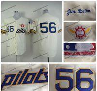 Mens Vintage # 56 Jim Bouton Jersey Seattle Pilotos Baseball Camisas Cheap Creme Costurado Camisas 100º Patch M-XXXL