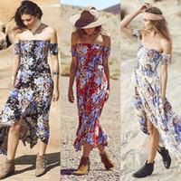 Seksi Straplez Plaj Yaz Elbise pantolonlar Vintage Bohemian Maxi Elbise Boho Çiçek Kadınlar Bölünmüş Uzun Elbiseler Vestido baskılı