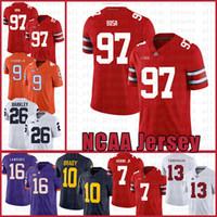 NCAA Ohio State Buckeyes 97 Nick Bosa 7 Dwayne Haskins Jr Amerikan Futbolu Jersey 9 Travis Etienne Jr. Tom Brady Saquon Barkley Resvrf