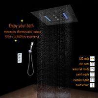 inwallバスルームのシャワーセットタップ6機能サーモスタットミキサー800x800 LEDの天井シャワーヘッド4機能滝レインスワールCURTAINHF5424