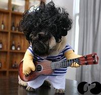 كلب عازف الجيتار التجلي اللباس مضحك خذ غيتار زي باغو مضحك لعب الغيتار الملابس الحيوانات الأليفة الكلب تحول الزي بدلة