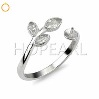 Leaf Ring with Three CZ Stone 925 Sterling Silver Ring Acces...