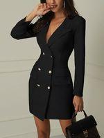 Helt ny kvinna formell slank dubbelbröst lång trench coat outwear dress trench överrock bälte varm försäljning