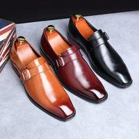 Zapatos de la venta caliente-vestido nuevo ocio para hombre Zapatos Negro británica Diseñador dedo del pie cuadrado Monk zapatos hebilla de la correa de carrera de la oficina