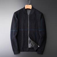 Suéteres para hombres a cuadros para hombre de lujo stand stand collar cárdigan suéter masculino moda computadora cremallera hombre invierno