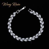 Wong Rain 925スターリングシルバーを作成Moissaniteサファイアルビーアメジスト宝石バングルチャームブレスレットファインジュエリー卸売CX200706