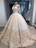 Винтаж шампанское блестками кружева аппликация бальное платье Wedidng платья роскошные длинные рукава трапеция плюс размер Саудовская Дубай арабский свадебное платье