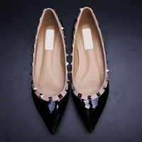 Sale! 34 40 Genuine Leather V Stud Ballerina Flats Rivets We...