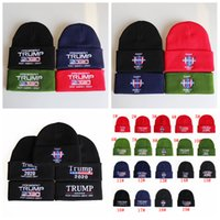 20styles Trump hats 2020 President Knitted Hats Keep America Great Embroidery Winter Warm Ski Hats Knitted Beanie Cap Party Supplies FFA2858