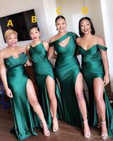 Günstige Einfach Sexy Plus Size African Off Schulter-Nixe-Brautjungfernkleider für Black Girls bodenlangen Hochzeitsgast Maid Of Honor Kleider