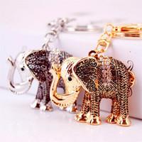 Taschen-Charme Schlüsselanhänger Weinlese-Silber Gold-Ton überzogene Metall-Legierung Kristallrhinestone-Tierelefant-Anhänger Auto-Schlüsselanhänger