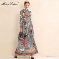 MoaaYina Moda Tasarımcısı Pist Elbise Sonbahar Kadınlar Uzun kollu Ekose limon Çerezler denizyıldızı Çiçek İnce Şık Elbise yazdır