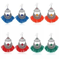 New Women Ladies Vintage Bohemian Style Hollow Rhinestone Beads Tassels Pendant Earrings Fashion National Wind Charm Jewelry