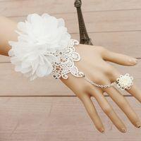 Vintage 2018 Bridal Bridal Bracelet Anel Corrente Integrada Laço Branco Lindo Flor Feminino Mulheres Braceletes Pulseiras Tamanho Ajustável