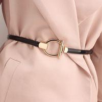 Piel Decoración suéter del vestido de la correa de imitación de la patente cinturón fino Casual cinturones de cuero de imitación de las mujeres S1449