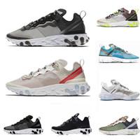 Nike air react element 87 55 Undercover 87 55 кроссовки для мужчин, женщин Light Bone тройной черный белый королевский Солнечные красные мужские тренеры спортивные тапки бегун