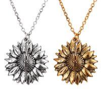 Женщины Длинные цепи ожерелье шарма двухслойный гравировкой на заказ Вы My Sunshine Open Locket подсолнечника ожерелье ювелирных изделий