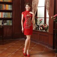 Brud toast kläder mode retro röd spets cheongsam kinesisk kort klänning cheongsam