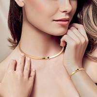 Einfache Kragen neue Art und Weise Armband-Satz Gold 18K Kragen-Halsketten-Schmuck-Set Großhandel In Drop Shipping