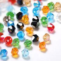 3 4 6 мм австрийских бикон хрустальные бусы для ювелирных изделий DIY аксессуары многоцветные граненые стекло свободные разные бусины оптом