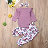 Nouveau-né Baby Girl Cotton Romper Hauts + Pantalons floraux 3PCS Tenues Vêtements Set