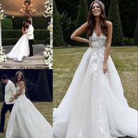 Modern Boho princesa laço vestido de casamento querida decote tule apliques pérolas varrer treinar um vestido de casamento de praia