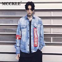 MCCKLE Мужчины Женщины клоун печати джинсовая куртка 2018 осенняя мода пара уличная одежда пальто унисекс отложной воротник свободные пиджаки