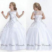 2020 Blanc à bas prix manches courtes fleur filles Robes Perles cristaux Jewel Neck Little Girls Pageant robes pour les filles anniversaire BA1497