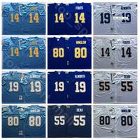 NCAA Football 55 Junior Seu Jersey 14 Dan Fouts 19 Lance Alworth 80 Kellen Winslow Цвет Фиолетовый Синий Белые Мужчины Урожай Стечь