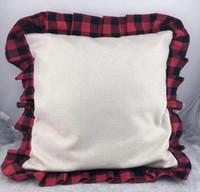 Buffalo Plaid оборками Наволочка Рождество сублимации буйвола клетчатую рябить бросить подушку крышки Оптовая Handmade крышка подушки