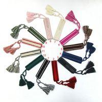 Neue Stoff Armreif Stickerei Logo Streifen Baumwolle gewebte Stickerei Armbänder für Frauen Neue Mode Marke Handgemachte Quaste Lace-Up Armband