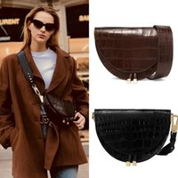 Fashion Alligator Leather Saddle Bag Women Luxury Shoulder B...