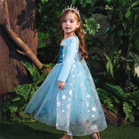 Девочка платье принцессы 2 цвета снежная королева с длинным рукавом юбка Рождество Кружева Пром платье льда снег принцесса Айша юбка BJY992