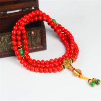 108 Röd korallarmband Naturstenpärlor Mala halsband Buddhistisk bön Rosary Strand Bracelets Buddha Meditation