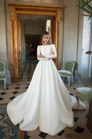 White Ivory Simple Satin Wedding Dresses Bridal Ball Gown Lo...