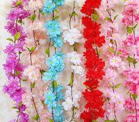 220 cm Sakura Cerezo de Rota Arco de Boda decoración Vine Flores Artificiales Decoración del partido En Casa Seda de la pared de la Hiedra Colgando Guirnalda Guirnalda