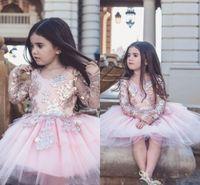 2019 사랑스러운 블러셔 핑크 Tulle 꽃 파는 소녀는 귀여운 긴 소매 장식 공 공주 소녀 정장 생일 파티 페이지 웨딩 드레스를 입는다