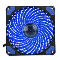 Freeshipping 120mm Ordenador de PC 16dB Ultra silencioso 33 LEDs Caja Ventilador Disipador de calor Enfriador Enfriador con Caucho Antivibración, Ventilador 12CM, 12VDC 3P IDE
