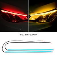 2x Ultrafine DRL 30 45 60cm Gündüz Farı Esnek Yumuşak Tüp Kılavuzu Araç Şerit LED Beyaz Kırmızı Su geçirmez Sarı sinyal verme durumunda