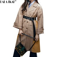 2017 herbst neue beiläufige frauen trenchcoat mit gürtel lange oberbekleidung wind windjacke mantel graben femme zweireiher großhandel