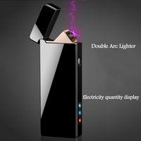 Recarregáveis isqueiro USB dupla arco cruz charuto eletrônico mais leve à prova de vento plasma elétrico sem chama mais leve